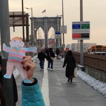 Stanley on the Brooklyn Bridge!