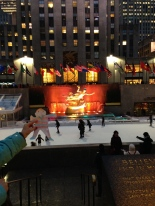 Stanley watching the ice skating at Rockefeller Plaza Ice Rink!