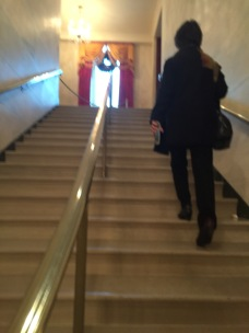 Queen taking the stairs